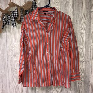 Chaps orange & blue button up blouse size 1X